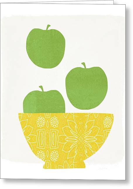 Bowl Of Green Apples- Art By Linda Woods Greeting Card by Linda Woods