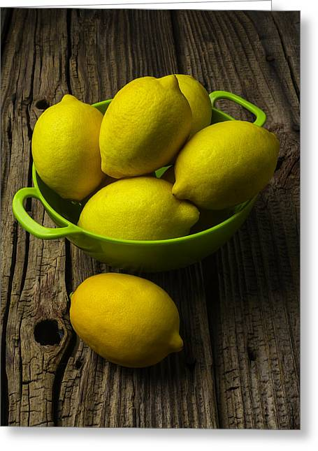 Bowl Of Lemons Greeting Card by Garry Gay
