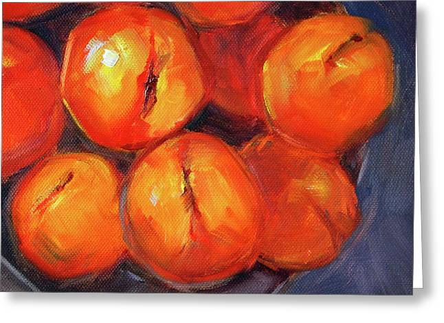 Greeting Card featuring the painting Bowl Of Peaches Still Life by Nancy Merkle