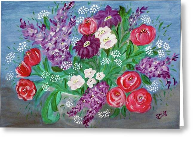 Greeting Card featuring the painting Bowl Of Poisies by Sonya Nancy Capling-Bacle
