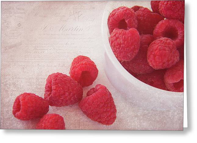 Bowl Of Red Raspberries Greeting Card