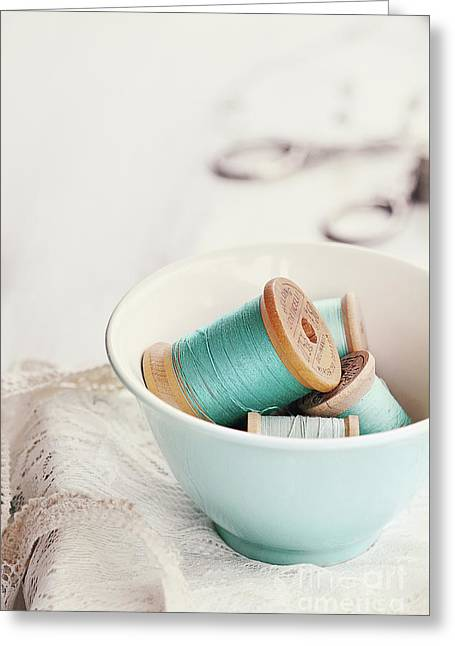 Bowl Of Vintage Spools Of Thread Greeting Card