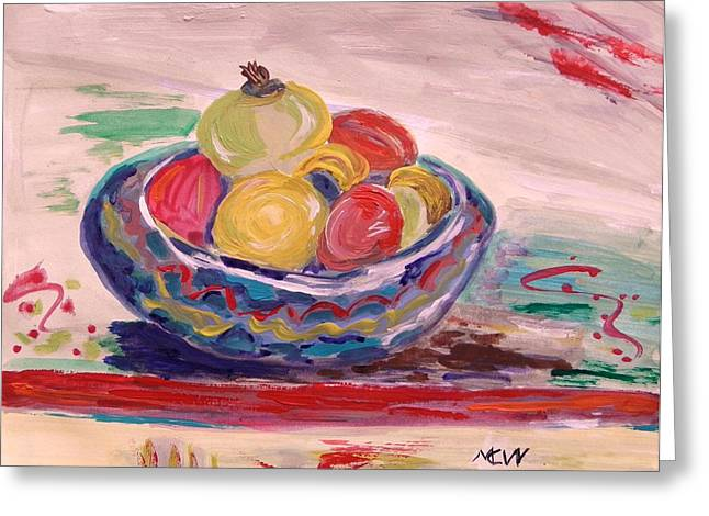 Bowl On A Red Edge Greeting Card by Mary Carol Williams