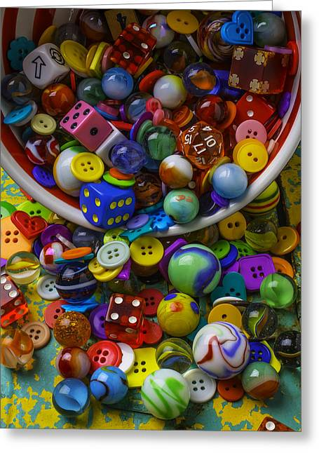 Bowl Spilling Marbles Buttons And Dice Greeting Card by Garry Gay
