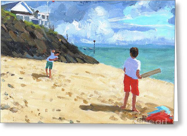 Bowling And Batting, Abersoch Greeting Card