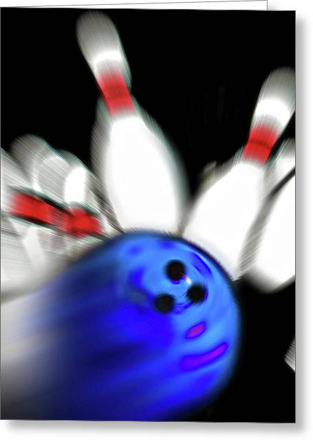 Bowling Sign 2 - Strike  Greeting Card by Steve Ohlsen