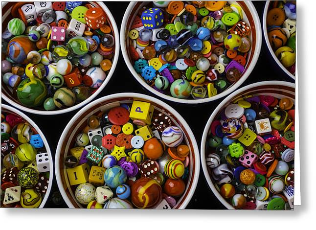 Bowls Of Marbles Dice And Buttons Greeting Card by Garry Gay