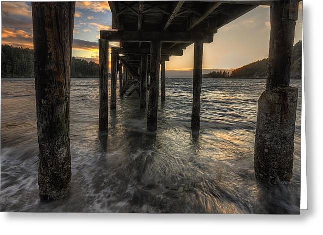 Bowman Bay Pier Greeting Card by Mark Kiver