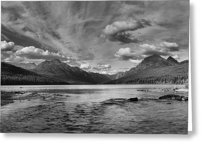 Bowman Lake Black And White Panoramic Greeting Card by Adam Jewell