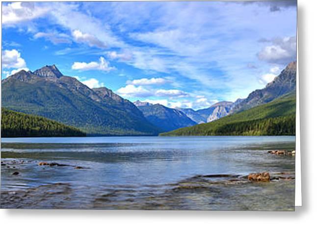 Bowman Lake Panorama Greeting Card by Adam Jewell