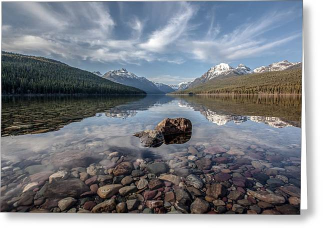 Bowman Lake Rocks Greeting Card by Aaron Aldrich