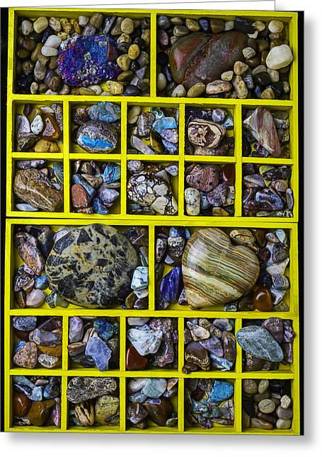 Box Compartments With Stones Greeting Card by Garry Gay