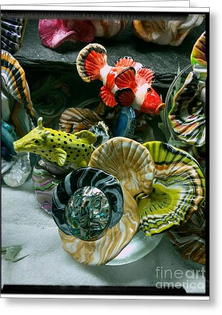 Box Fish And Clown Fish Checking Out New Coral Greeting Card by Kirk Wieland
