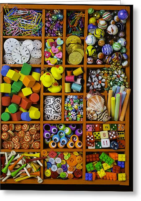 Box Full Of Colorful Objects Greeting Card by Garry Gay