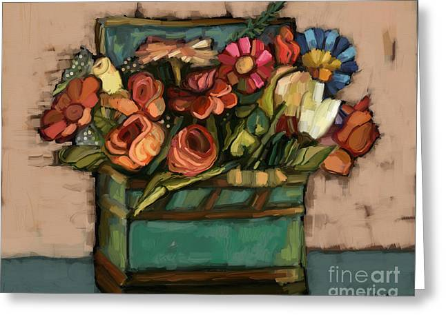 Box Of Flowers Greeting Card