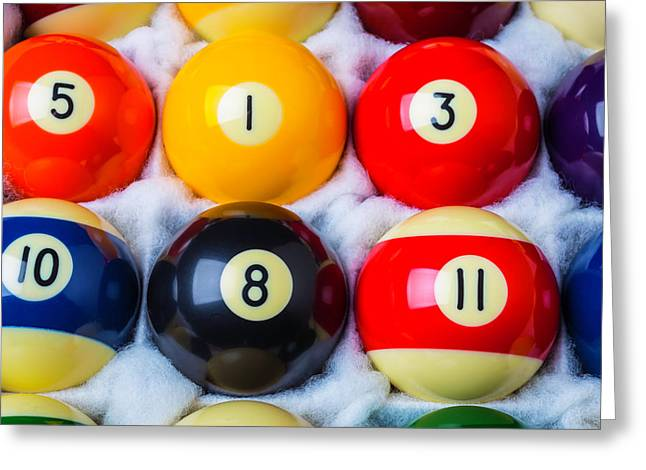Box Of Pool Balls Greeting Card by Garry Gay