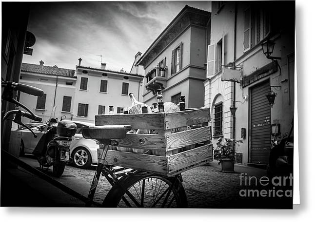 Box Of Wine Black And White Bologna Italy Damigiane Greeting Card