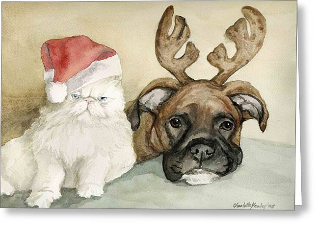 Boxer And Persian Cat Christmas Greeting Card by Charlotte Yealey