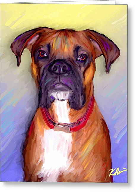 Boxer Beauty Greeting Card by Karen Derrico