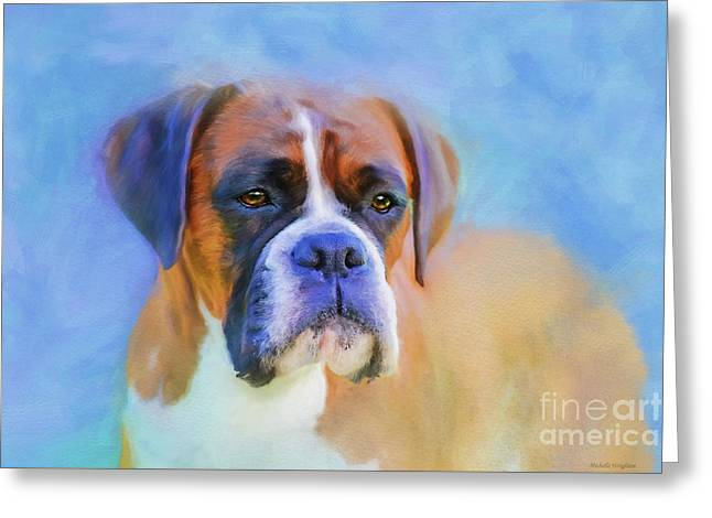 Boxer Blues Greeting Card by Michelle Wrighton