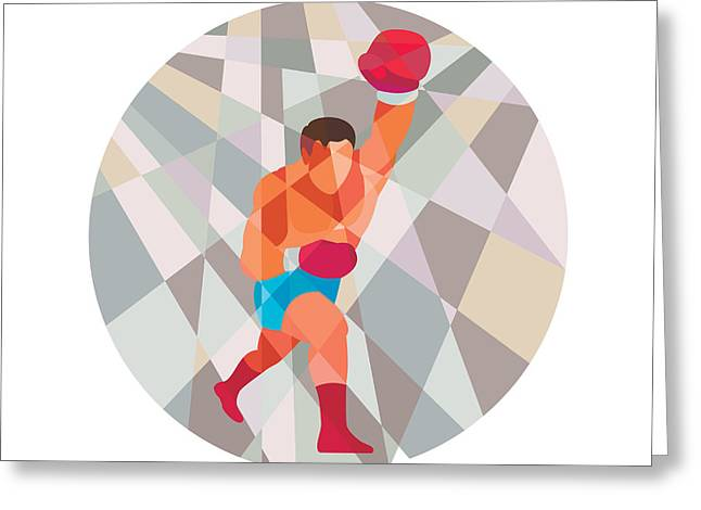 Boxer Boxing Punching Circle Low Polygon Greeting Card by Aloysius Patrimonio