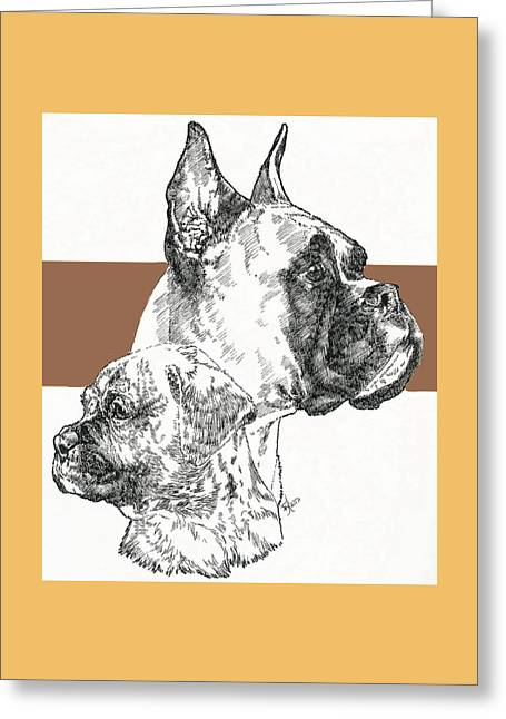 Boxer -cropped- Father And Son Greeting Card by Barbara Keith