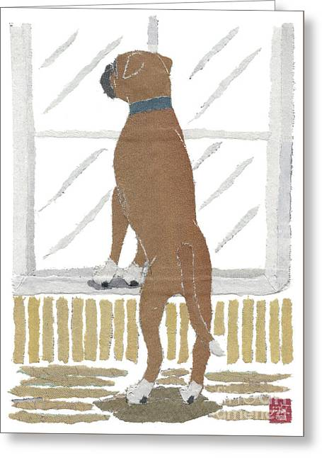 Boxer Dog Art Hand-torn Newspaper Collage Art Greeting Card by Keiko Suzuki Bless Hue