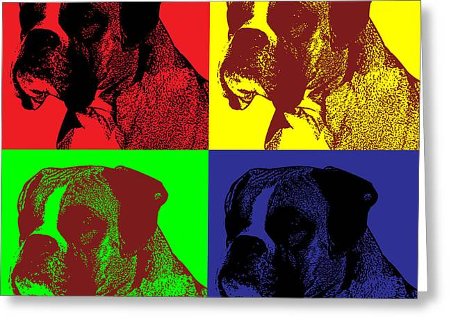 Stampers Greeting Cards - Boxer Dog Pop Art Style Greeting Card by Jim Bryson