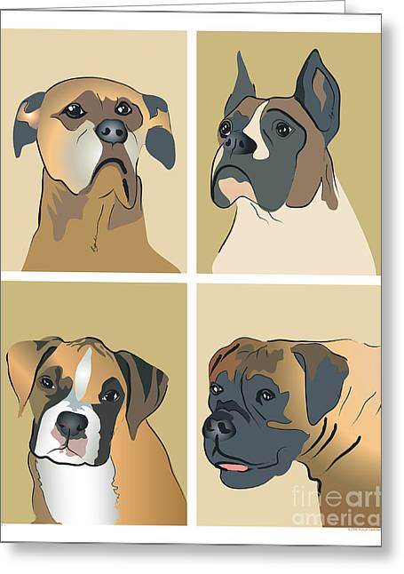 Boxer Dogs 4 Up Greeting Card