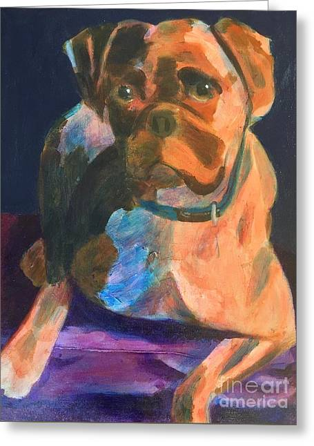 Greeting Card featuring the painting Boxer by Donald J Ryker III