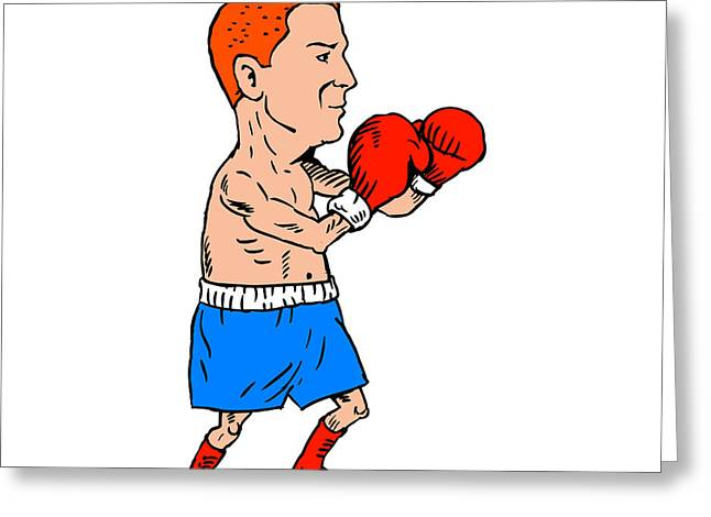 Boxer Fighting Stance Cartoon Greeting Card by Aloysius Patrimonio