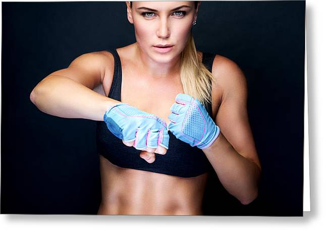 Boxer Girl Portrait Greeting Card by Anna Om