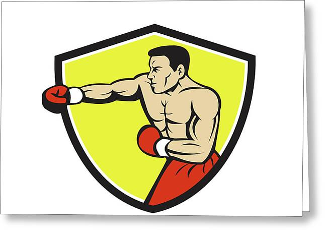 Boxer Jabbing Punching Crest Cartoon Greeting Card by Aloysius Patrimonio