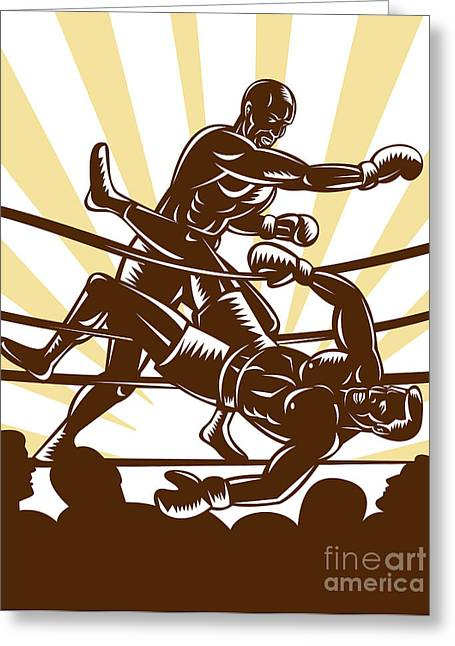 Boxer Knocking Out Greeting Card by Aloysius Patrimonio