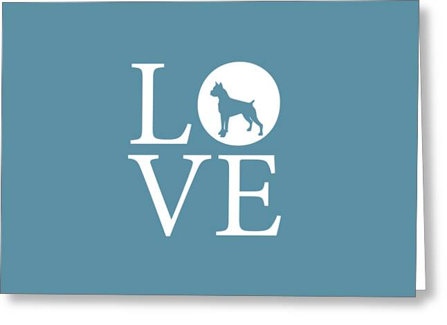 Boxer Love Greeting Card by Nancy Ingersoll