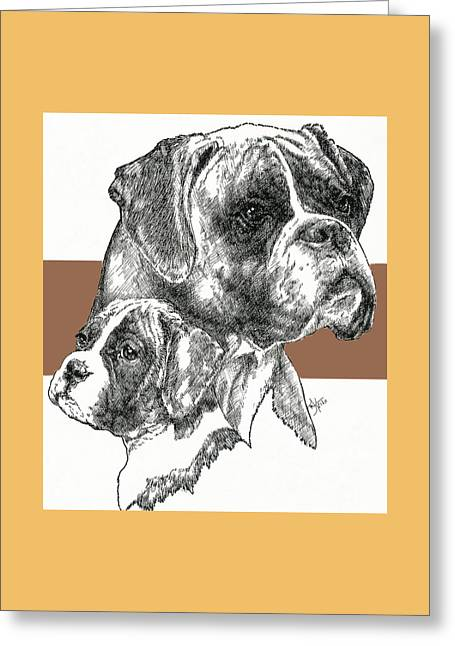 Boxer -uncropped- Father And Son Greeting Card by Barbara Keith