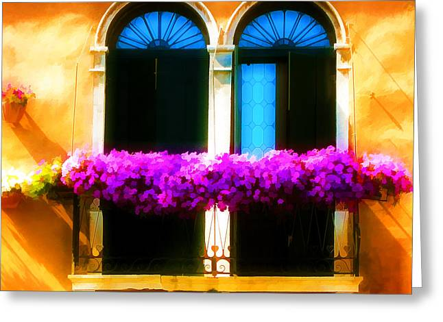Boxes Of Flowers Before Window Greeting Card by Lanjee Chee