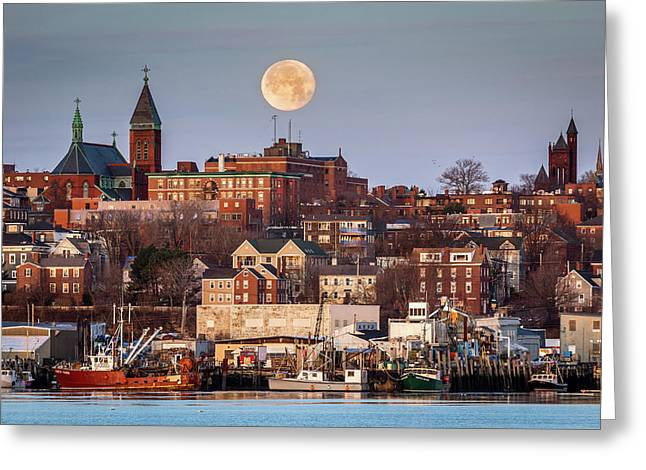 Boxing Day Moon Over Portland Maine  Greeting Card