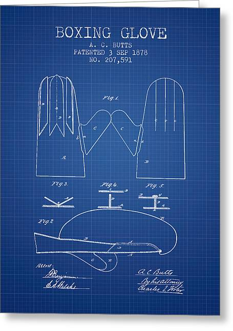 Boxing Glove Patent From 1878 - Blueprint Greeting Card by Aged Pixel