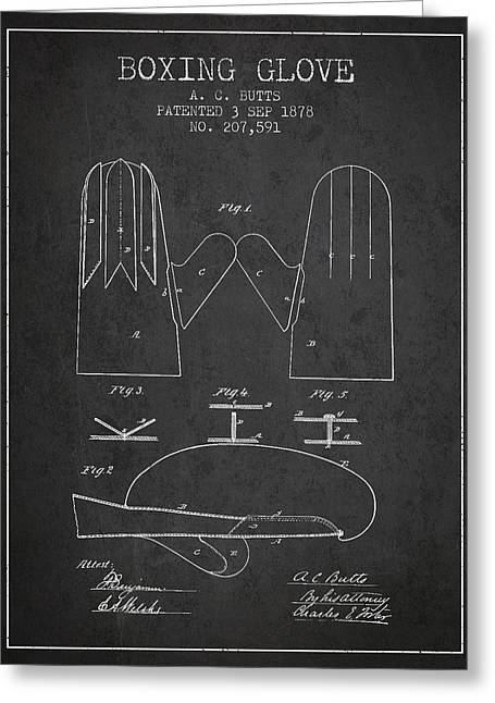 Boxing Glove Patent From 1878 - Charcoal Greeting Card by Aged Pixel