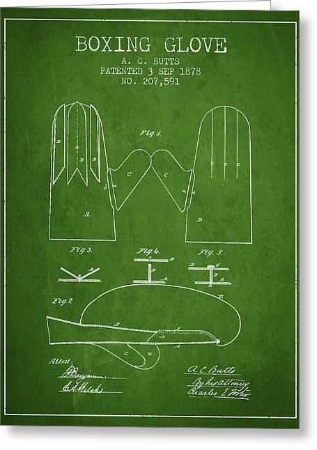 Boxing Glove Patent From 1878 - Green Greeting Card by Aged Pixel