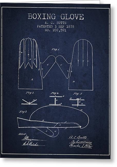 Boxing Glove Patent From 1878 - Navy Blue Greeting Card by Aged Pixel