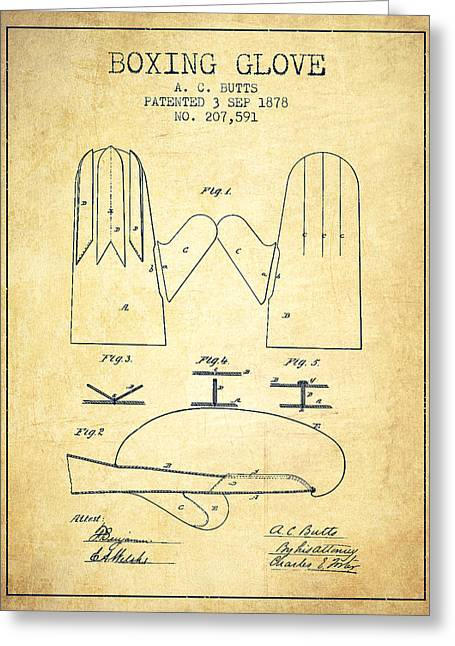 Boxing Glove Patent From 1878 - Vintage Greeting Card by Aged Pixel
