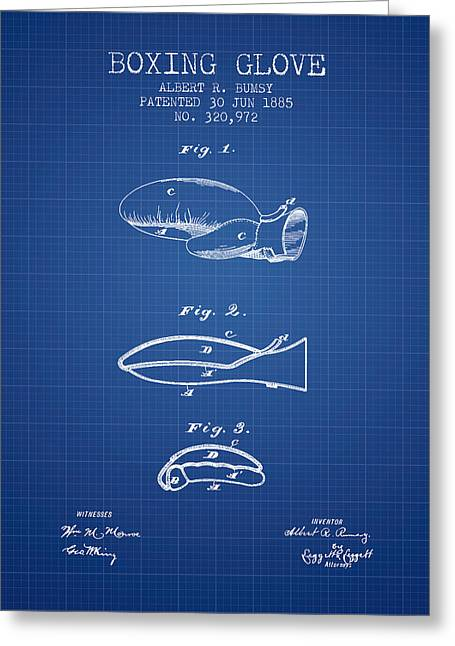Boxing Glove Patent From 1885 - Blueprint Greeting Card by Aged Pixel
