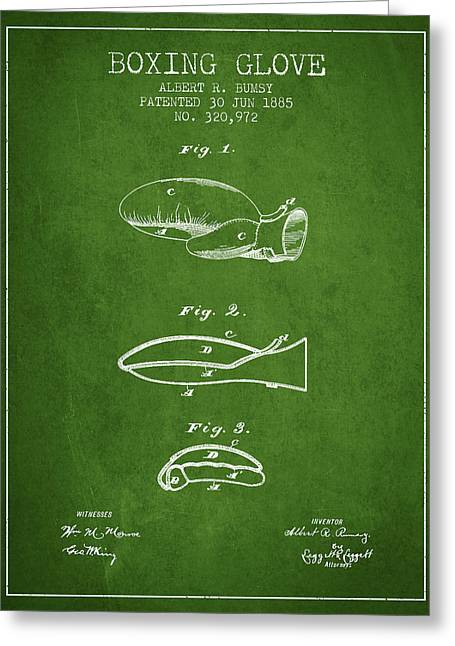Boxing Glove Patent From 1885 - Green Greeting Card by Aged Pixel