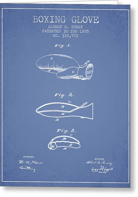 Boxing Glove Patent From 1885 - Light Blue Greeting Card by Aged Pixel