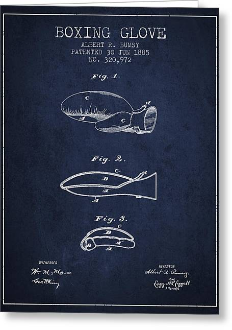 Boxing Glove Patent From 1885 - Navy Blue Greeting Card by Aged Pixel