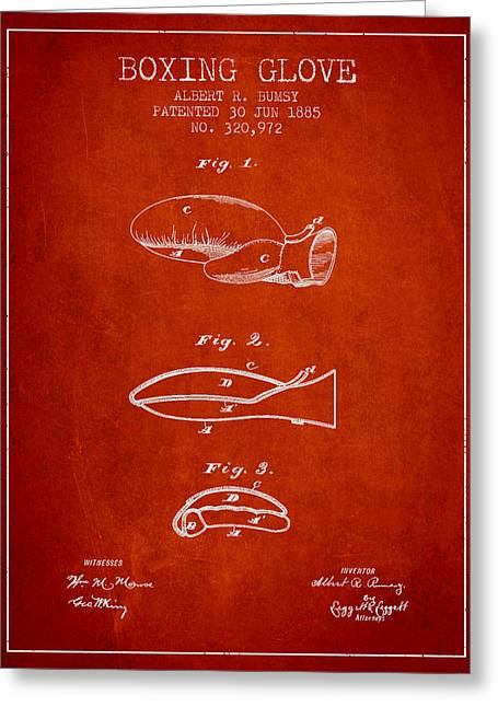 Boxing Glove Patent From 1885 - Red Greeting Card by Aged Pixel
