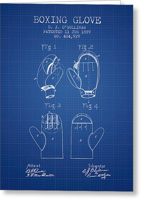 Boxing Glove Patent From 1889 - Blueprint Greeting Card by Aged Pixel