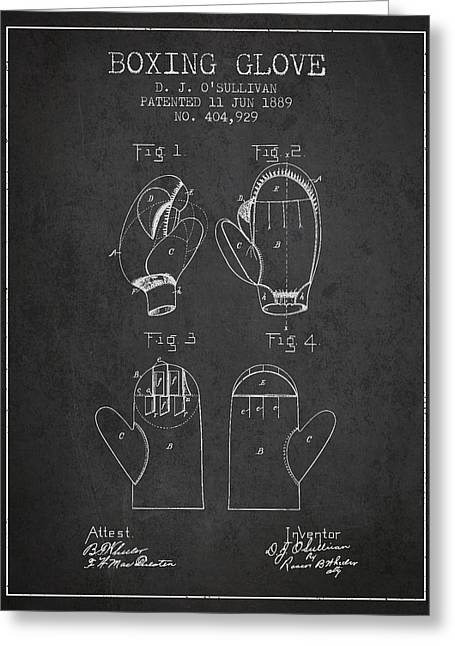 Boxing Glove Patent From 1889 - Charcoal Greeting Card by Aged Pixel